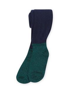 Collant bleu marine et vert enfant fille MYATUCOL1 / 21WI01K2COL070