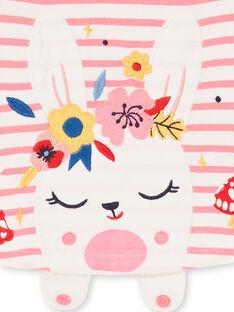 T-shirt à rayures animation lapin bébé fille LIHATEE / 21SG09X1TMLD305