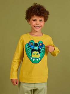 T-shirt jaune motif crocodile à sequins réversibles enfant garçon MOKATEE2 / 21W902I3TML106