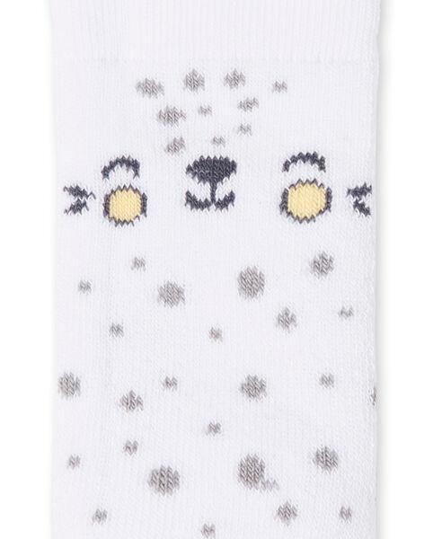 Chaussettes blanches à pois motif tête de chat LOU1CHO3 / 21SF42H1SOQ000