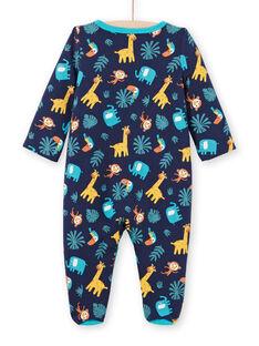Grenouillère réversible bleu nuit imprimé animaux bébé garçon MEGAGREANI / 21WH1486GREC205