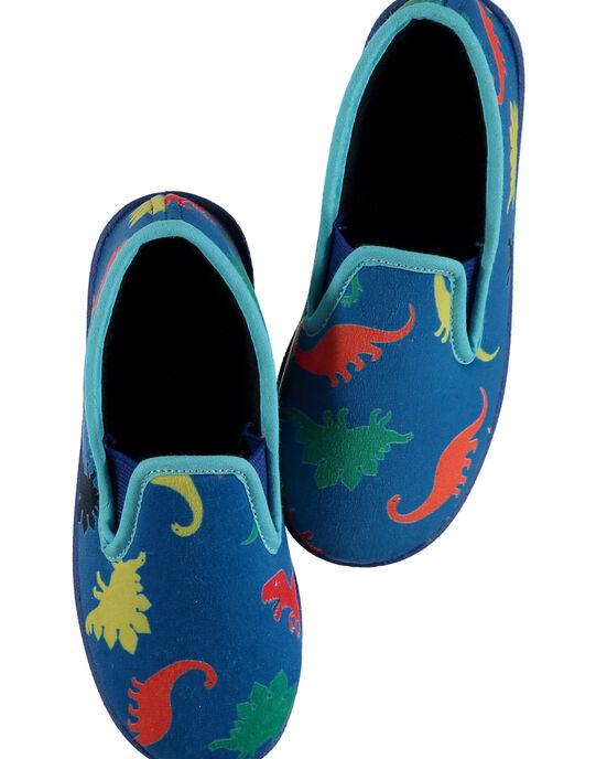 Chausson velours made in France bleu avec dinosaures enfant garçon GGSGSAURE / 19WK36Z6D0BC218