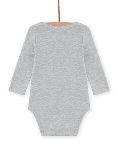 Body manches longues gris chiné à motif hérisson bébé garçon MEGABODSON / 21WH14C5BDLJ922