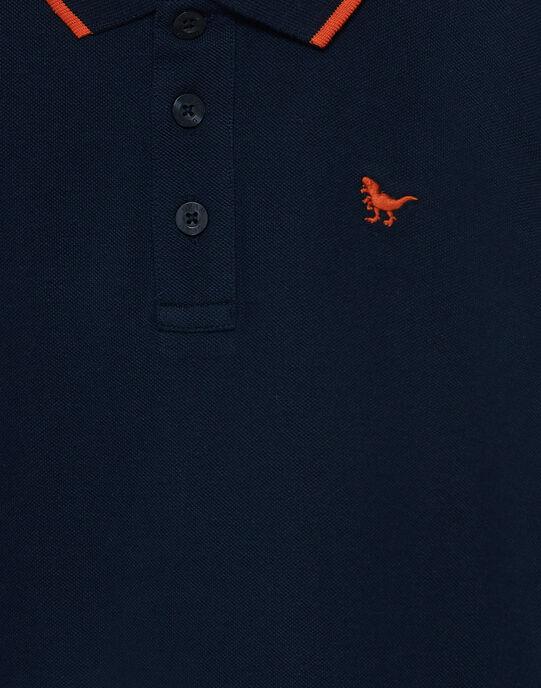 Polo garçon piqué marine rayé au col JOJOPOL1 / 20S90253D2D705