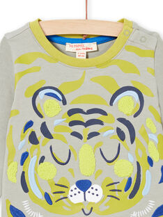 T-shirt vert kaki motif tigre bébé garçon MUKATEE3 / 21WG10I1TMLG622