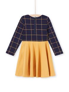 Robe manches longues bicolore bleu nuit et jaune enfant fille MAJOROB5 / 21W90123ROBC205