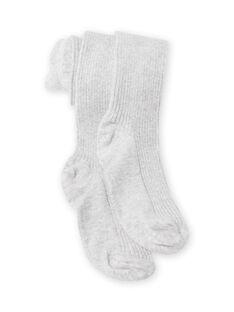 Collant uni gris chiné côtelé enfant fille MYAJOSCOL4 / 21WI0112COL943