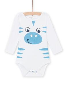 Body blanc motif zèbre bébé garçon MEGABODZEB / 21WH14C1BDL000