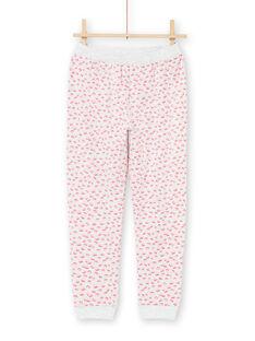 Ensemble pyjama T-shirt et pantalon écru chiné et rose enfant fille MEFAPYJFLY / 21WH1135PYJ006