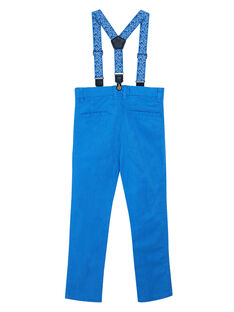 Pantalon garçon bleu en lin et coton avec bretelles imprimées JOSOPAN / 20S90281PAN201