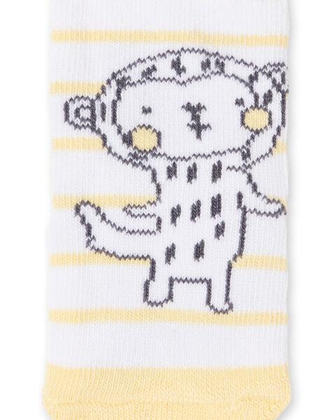 Chaussettes blanches à rayures motif singe LOU1CHO2 / 21SF41H1SOQ000