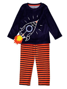 Pyjama marine et orange en velours enfant garçon GEGOPYJFUZ / 19WH12N8PYJ070