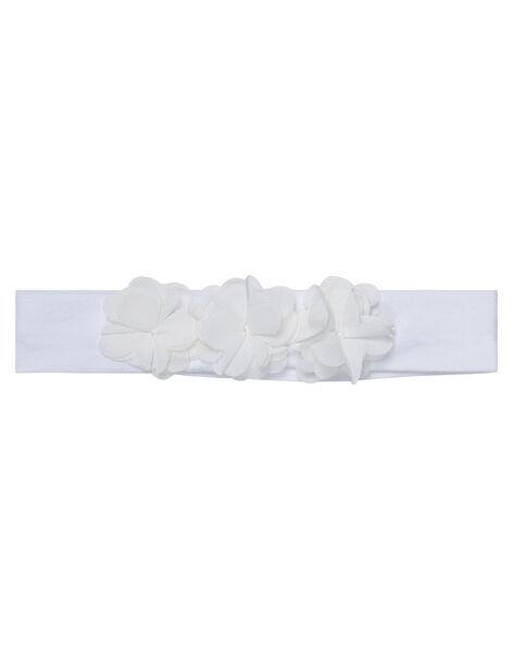 Bandeau bébé fille blanc à fleurs JYIPOEBAN2 / 20SI09G2BAN000