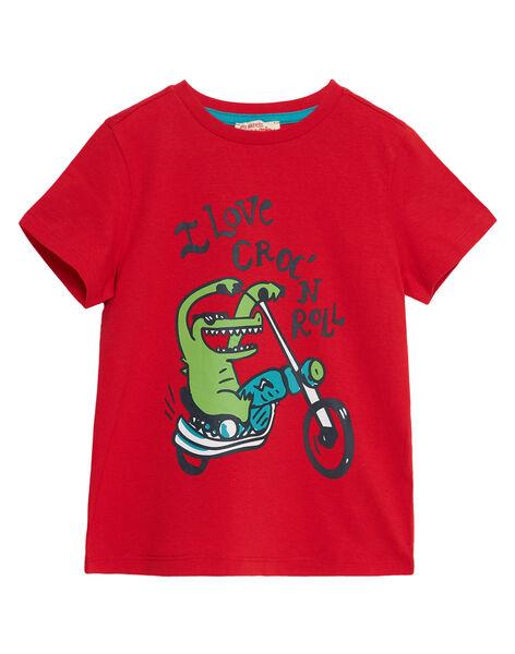 Tee shirt garçon manches courtes rouge croco à moto JOJOTI10 / 20S902T4D31F505