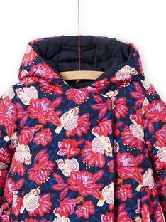 Parka à capuche réversible rose et bleu marine enfant fille MAPAPARKA / 21W90151PAR070