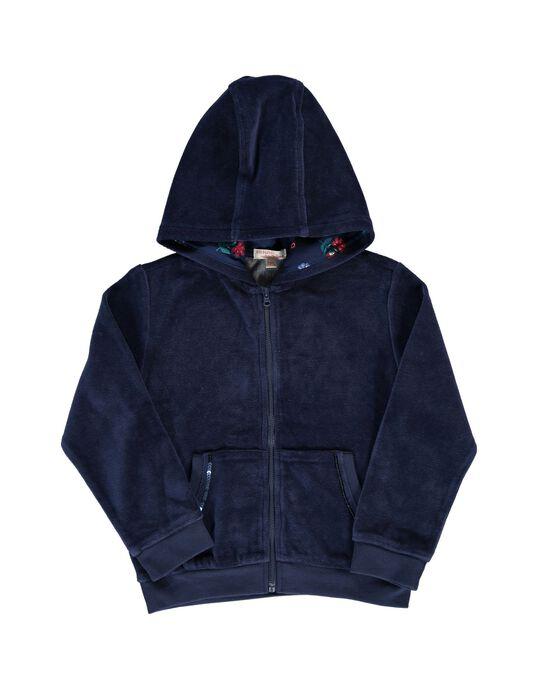 Sweat zippé à capuche en velours fille DAJOHAUJOG4 / 18W901C4D33070