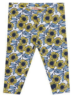 Legging bébé fille avec fleurs bleues et jaunes JYITROLEG2 / 20SI09F2CAL000
