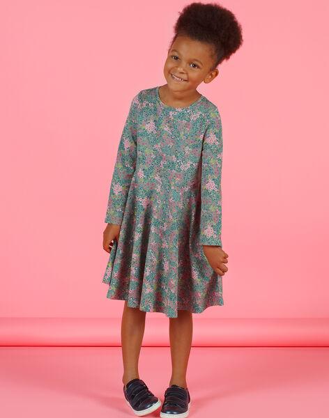 Robe vert kaki et rose imprimé fleuri enfant fille MAKAROB5 / 21W901I2ROB612