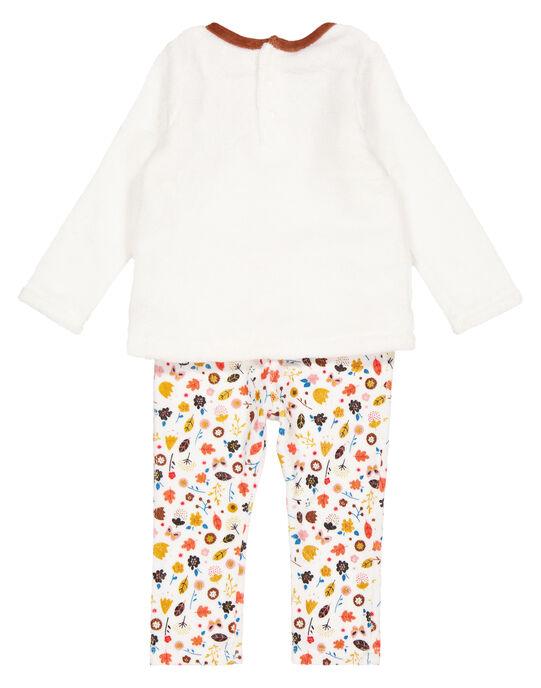 Pyjama écru en velours let soft boa layette fille GEFIPYJREN / 19WH13N1PYJ001