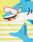 Ensemble de plage garçon débardeur jaune et bermuda marine JOPLAENS4 / 20S902X1ENS102