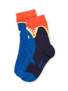Chaussettes bleues enfant garçon LYONAUCHO1 / 21SI02P1SOQC228