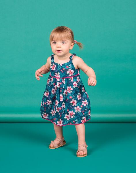Robe bleu pétrole imprimé fleuri bébé fille LIBONROB3 / 21SG09W3ROB716