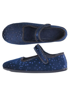 Chausson made in France velours glitter marine enfant fille GFBALPOIS / 19WK35Z6D07070