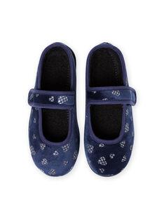 Ballerines bleu marine en velours motifs cœurs à paillettes enfant fille MAPANTHEART / 21XK3521D07070