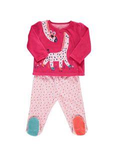 Pyjama en velours bébé fille CEFIPYJGI / 18SH1342PYJ330
