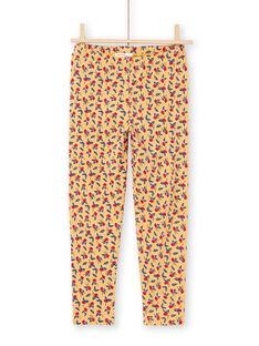 Legging jaune moutarde à imprimé fleuri enfant fille MYAMIXLEG1 / 21WI01J2CALB106