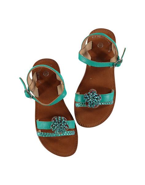 Sandale ville en cuir et cuir iridescent FFSANDLO / 19SK35D6D0E202