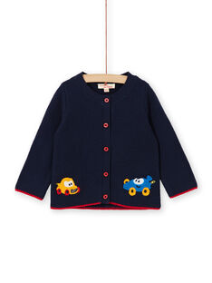 Gilet bleu nuit broderies voitures bébé garçon LUHAGIL / 21SG10X1GIL713