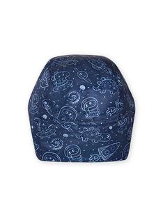 Chapka bleu nuit imprimé espace bébé garçon MYUPLACHA / 21WI1064BONC243