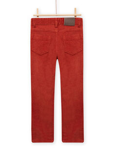 Pantalon en velours côtelé rouge-orangé enfant garçon MOJOPAVEL7 / 21W902N3PANE408