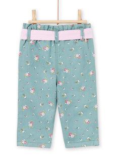 Pantalon bleu clair à imprimé fleuri bébé fille MIKAPAN / 21WG09I1PAN612