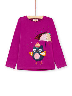 T-shirt manches longues, chouette à parapluie en imprimé, cornelly et brodé de sequins KALUTEE2 / 20W901P2TML310