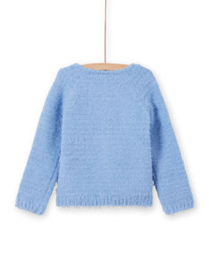Cardigan chenille bleu pâle enfant fille MAYJOCAR3 / 21W90119CAR706