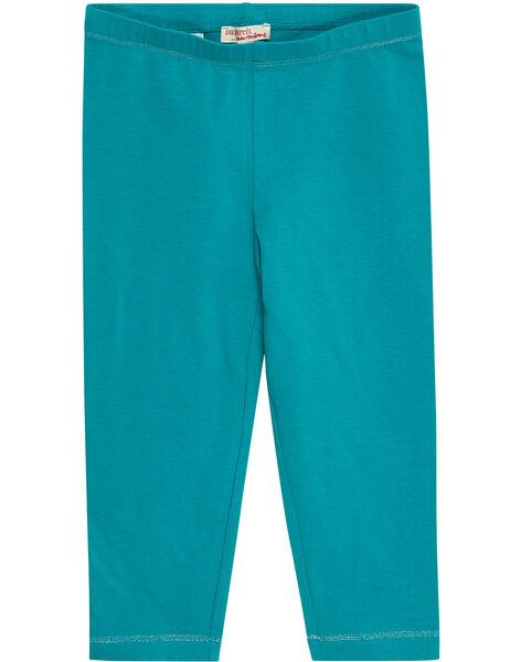 Legging uni bleu turquoise enfant fille JYAJOLEG3 / 20SI01T2D26621