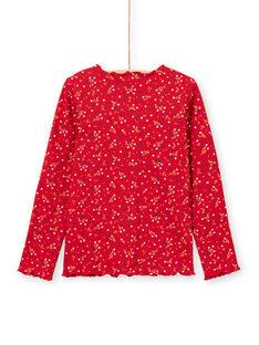 T-shirt côtelé manches longues rouge motif fleuri enfant fille MAJOUTEE5 / 21W90126TML511