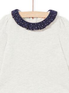 T-shirt beige chiné et bleu marine bébé fille MIJOBRA4 / 21WG0912BRAA011