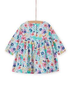 Robe en velours côtelé multicolore à imprimé fleuri bébé fille MIPLAROB4 / 21WG09O4ROB001
