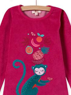 Ensemble pyjama T-shirt et pantalon en velours imprimé tropical enfant fille MEFAPYJMON / 21WH1183PYJD312