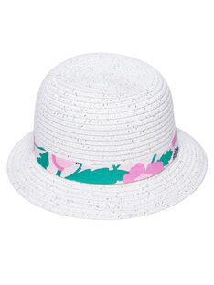 Chapeau bébé fille blanc avec ruban à fleurs JYIPOECHA1 / 20SI09G1CHA000