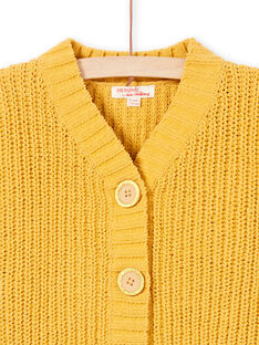 Cardigan manches longues en maille jaune enfant fille MAMIXCAR1 / 21W901J2CARB106