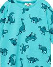 Tee shirt manches longues garçon turquoise imprimé all over dinosaures JOJOTEE4 / 20S90244D32209
