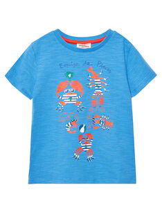 Tee shirt garçon manches courtes bleu avec crabes JOCEATI3 / 20S902N6TMC201