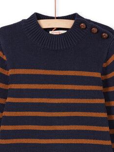 Pull bleu marine et marron à rayures enfant garçon MOJOPUL2 / 21W90211PUL812