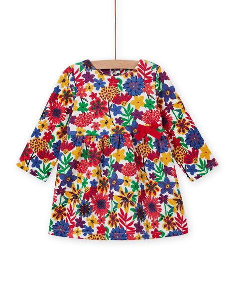 Robe manches longues imprimé fleuri coloré bébé fille MIMIXROB3 / 21WG09J2ROB001