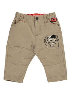 Pantalon beige fantaisie bébé garçon DUROUPAN / 18WG1021PANI812