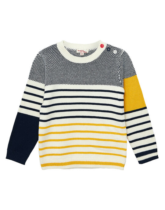 Pull en coton garçon rayé et jacquard marine, jaune et gris JOJOPUL4 / 20S90241D2E705